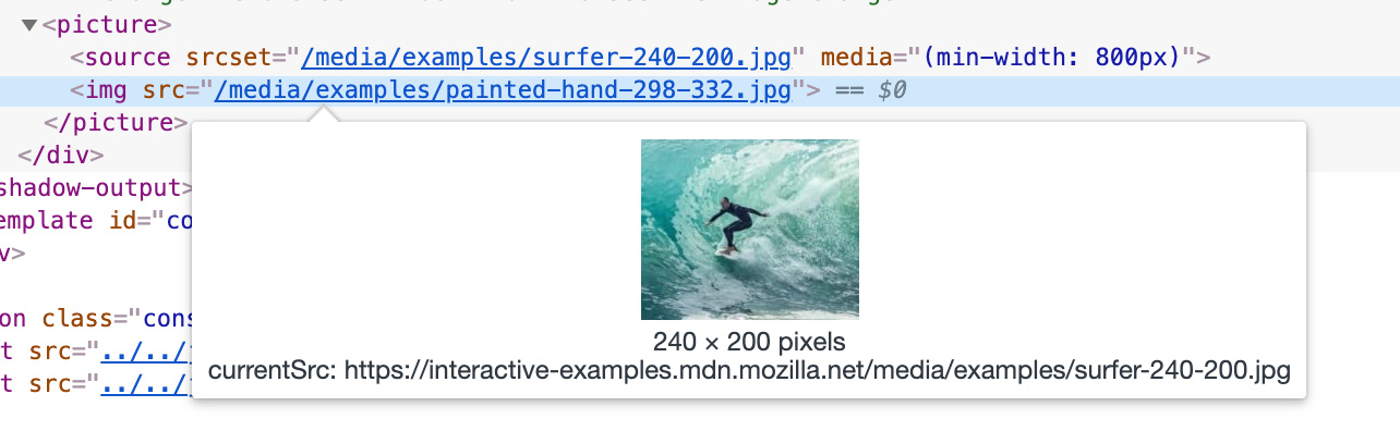 Screenshot of Chrome development tools showing the sourcec of the displayed image different than the value provided in the src attribute