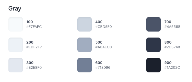 Color palette of  Tailwind CSS grey shade showing how they name their variables